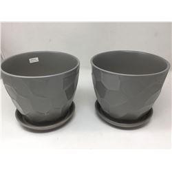 Green Planter Pots-Dark Grey