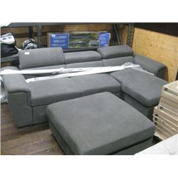 GREY COUCH WITH HIDEAWAY BED AND OTTOMAN