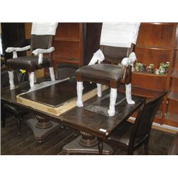 WOODEN KITCHEN TABLE WITH ATTACHABLE LEAF, 6 CHAIRS-DAMAGED ARM