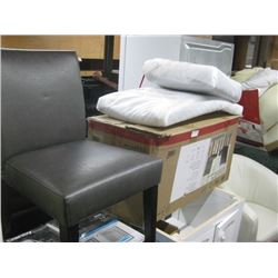 BOX OF 3 GREY BONDED LEATHER CHAIRS