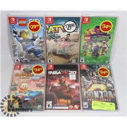 LOT OF 6 NEW NINTENDO SWITCH GAMES: INCLUDES