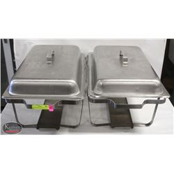 TWO CHAFFING DISH FRAMES W/ 2 LIDS