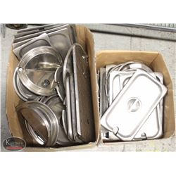 2 BOXES OF ASSORTED STAINLESS STEEL INSERT & SOUP