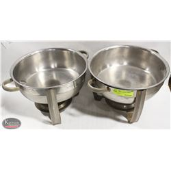 LOT OF 2 ROUND CHAFFING DISHES, NO LIDS