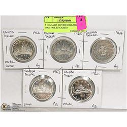 5 -CANADA SILVER DOLLARS 1962-1966, EF CAMEO
