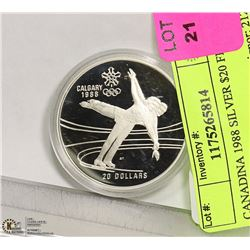 CANADIAN 1988 SILVER $20 FIGURE SKATING
