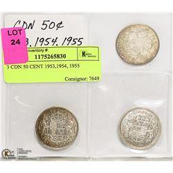 3 CDN 50 CENT 1953,1954, 1955