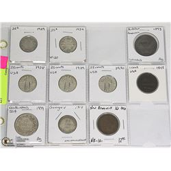 10- OLD CAN/USA/COINS INCL. 1893 KEY