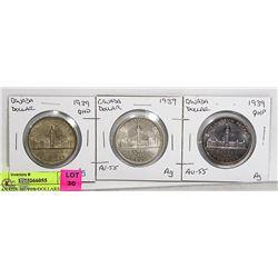 3- CANADA SILVER DOLLARS 1939 VF,EF, MS