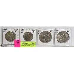 LOT OF 4 U.S. COINS- 1-1968 HALF DOLLAR, 2-1977 $1