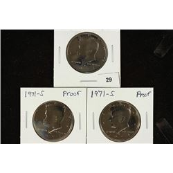 3-1971-S PROOF KENNEDY HALF DOLLARS