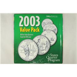 2003 ALL 5 STATE QUARTERS P & D'S, ILLINOIS,