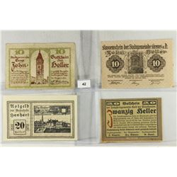 4 ASSORTED GERMAN NOTGELDS 2-10 & 2-20 HELLERS