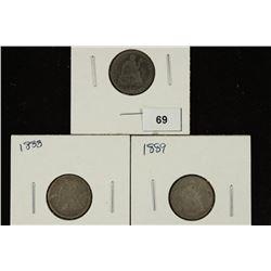 1887, 1888 & 1889 SEATED LIBERTY DIMES