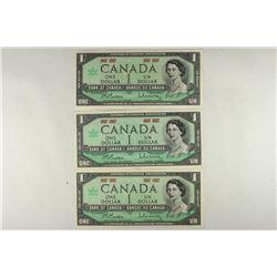 3-1967 CANADA $1'S CRISP UNC