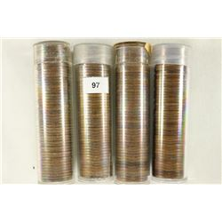4 SOLID DATE ROLLS OF CANADA 1 CENTS 1945, 1946,