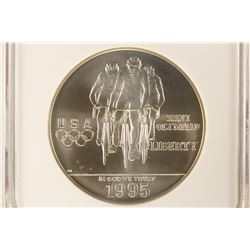 1995-D OLYMPICS CYCLING SILVER DOLLAR NGC MS69