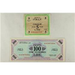 ITALY ALLIED MILITARY CURRENCY 1943-A FIVE LIRE &
