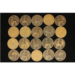 20 ASSORTED 1896-1947 GREAT BRITAIN LARGE PENNIES