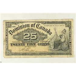 1900 CANADA 25 CENT  FRACTIONAL CURRENCY