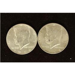 2-1964-D 90% SILVER KENNEDY HALF DOLLARS