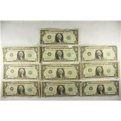 10-1963-B JOSEPH W. BARR $1 FRN'S ONE IS A STAR