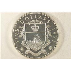 1971 BAHAMAS $5 SILVER PROOF 1.2526 OZ. ASW