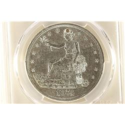 1874-S TRADE DOLLAR WITH CHOP MARK PCGS GENUINE
