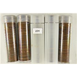 5 SOLID DATE ROLLS OF CANADA ONE CENTS 1951,