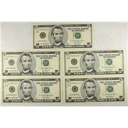 5-CONSECUTIVE SERIAL NUMBER 2003-A $5 FRN'S
