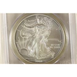2008-W AMERICAN SILVER EAGLE PCGS MS70 SIGNED