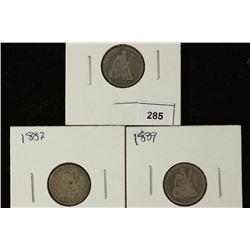 1884, 1887 & 1889 SEATED LIBERTY DIMES