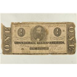 1863 CONFEDERATE STATES OF AMERICA $1 AS SHOWN