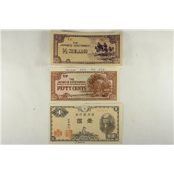 3 PIECES OF WWII JAPANESE INVASION CURRENCY