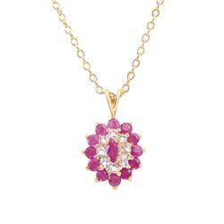 Plated 18KT Yellow Gold 1.30ctw Ruby and Diamond Pendant with Chain