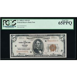 1929 $5 Chicago Federal Reserve Bank Note PCGS 65PPQ