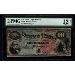 1869 $10 Rainbow Legal Tender Note PMG 12NET
