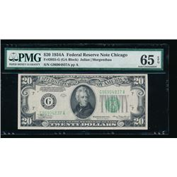 1934A $20 Chicago Federal Reserve Note PMG 65EPQ