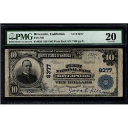 1902 $10 Riverside National Bank Note PMG 20