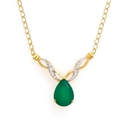 Plated 18KT Yellow Gold 3.55ct Green Agate and Diamond Pendant with Chain