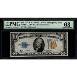 1934A $10 North Africa Silver Certificate PMG 63