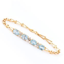 Plated 18KT Yellow Gold 3.60ctw Blue Topaz and Diamond Bracelet