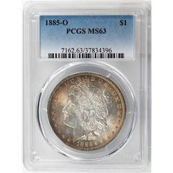 1885-O $1 Morgan Silver Dollar Coin PCGS MS63 Amazing Toning