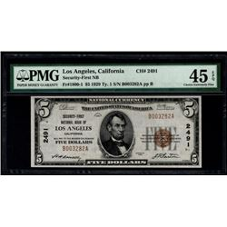1929 $5 Los Angeles National Bank Note PMG 45EPQ