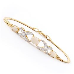 Plated 18KT Yellow Gold 1.16ctw Opal and Diamond Bracelet