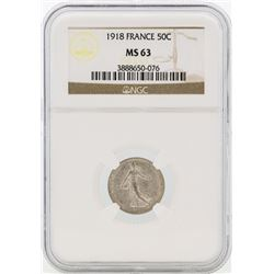 1918 France 50 Centimes Silver Coin NGC MS63