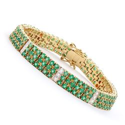 Plated 18KT Yellow Gold 6.20ctw Green Agate and Diamond Bracelet