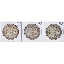 Lot of (3) 1898-S $1 Morgan Silver Dollar Coins