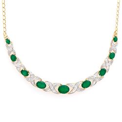 Plated 18KT Yellow Gold 4.05ctw Green Agate and Diamond Pendant with Chain