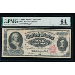 1886 $1 Martha Washington Silver Certificate PMG 64